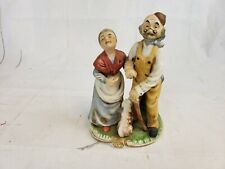 Flambro Porcelain Figurine Old Husband and Wife with Dog Pt2