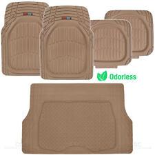 MotorTrend Deep Dish Rubber Floor Mats & Cargo Set - Beige - Heavy Duty BPA Free