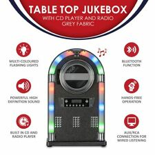 More details for tabletop bluetooth cd player jukebox with fm radio, aux input and remote control