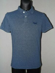 Superdry vintage mens cotton short sleeve blue polo shirt size S