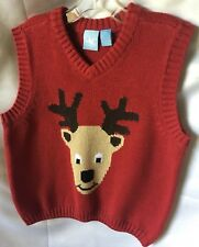 J. KHAKI BOYS Red Holiday Holiday Reindeer V-Neck Sweater Vest Size 3T-New