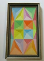 MYSTERY  PAINTING 1970 ABSTRACT AGAM STYLE  MODERNISM POP OP GEOMETRIC VINTAGE