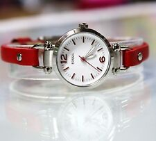 New Fossil ES4119 Jacqueline Mini Silver Stainless Steel Red Band Women Watch