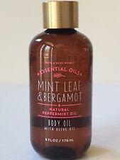 NEW BATH & BODY WORKS MINT LEAF BERGAMOT BODY OIL OLIVE 6OZ PEPPERMINT ESSENTIAL