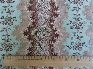 """1800's REPRODUCTION FABRIC""""CLOVERDALE HOUSE""""  2YD BROWN/TEAL STRIPE DI FORD-HALL"""