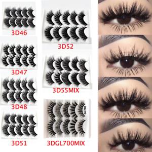5Pair 3D False Eyelashes Wispies Cross Long Thick Soft Fake Eyelashes MIXED