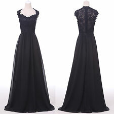 BLACK VINTAGE VICTORIAN 20s Masquerade Formal Ceremony Evening Prom Party Dress