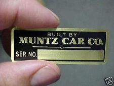 Muntz Jet Car Data Plate Acid Etched Brass