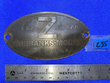 "3 Hp Brass Tag for Fairbanks Morse ""Z� Hit Miss Engine Tractor Auto Antique Fb"