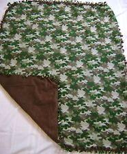 Handmade Tie Blanket Fleece  45x56 COZY SOFT Nature Print Camouflage Throw