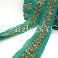 Green Gold Beaded Fabric Trim trimming,Embellishment,co stume,pageant,Art