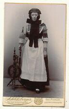 CDV - Dame in Tracht mit Spinnrad - Pyrmont 1890er