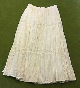 CAPPAGALLO PETITE WHITE SUMMER SKIRT SILVER THREADS PS PETITE SMALL FULLY LINED