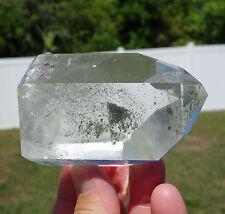 Clear Quartz Green Chlorite Arcing PHANTOM Crystal Point Brazil Super Clarity