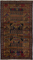 """Hand-knotted Carpet 3'6"""" x 6'7"""" Bordered, Tribal Wool Rug"""