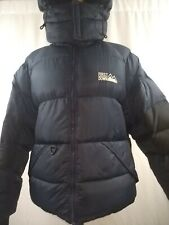 Jacket First Down Puffer Jacket Vintage Blue and Black M, Removable Hoodie