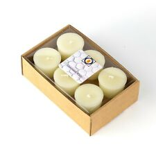 6 White Unscented 100 Percent  Beeswax Votives, Votive Candles, 12 Hour