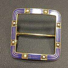 Vintage Riker Brothers Art Nouveau 14K Blue Enamel Seed Pearl Buckle Pin Brooch