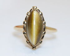 NOS 10K Yellow Gold Women's 2 Ct Marquise Shaped Tiger's Eye Ring Size 7