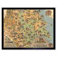 Map Clark 1949 Yorkshire England British Railways Wall Art Print Framed 12x16