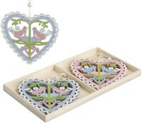 HEART & BIRDS Blue Pink Hanging Home Decoration Cut Out Shabby Chic Folk GIFT