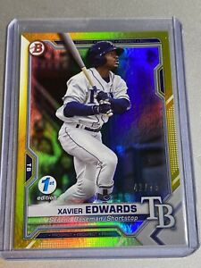 Xavier Edwards 2021 Bowman 1st Edition YELLOW Prospect SP 42/75 - Tampa Bay Rays