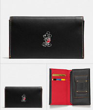 NEW  DISNEY x COACH BLACK LEATHER PHONE CASE WALLET MICKEY F 58942