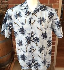 Hilo Hatties Fuel Cell Conference Blue Hawaiian Shirt  Palm Trees Mens Size M