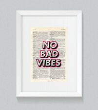 No Bad Vibes Wording Pink Vintage Dictionary Book Print Art