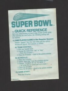 Tecmo Super Bowl Quick Reference Card TEC-4U-US INSERT ONLY Authentic