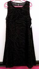 ALFANI Size 18W Black Velvet Textured Sleeveless  Shift Dress