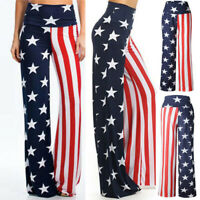 Fashion Womens High Rise American Flag Wide Leg Pants Loose Yoga Full Trousers