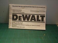 DeWalt D21002 D21008 D21009 3/8 VSR Drill Instruction Manual (Manual Only)