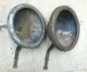 1915 1919 Model T FORD BROWN HEADLIGHT BUCKETS w/ RINGS Original pair
