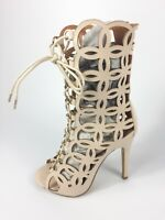 Womens Ladies Nude Faux Leather High Heel Lace Up Sandals Shoes Size UK 4 New