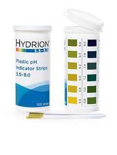 100 Sticks for pH URINE SALIVA Lab TEST TESTING Strips USA Made HYDRION 5.5-8.0