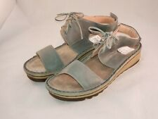 NEW$165- NAOT Leather Sea Green Alpicola Wedge Strap Sandals Lace Up EU 36