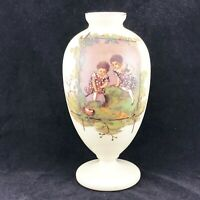 VINTAGE GLASS VASE WITH 2 GIRLS HAND PAINTED APPROX 26CM HIGH