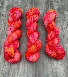 Hand Dyed Sock Yarn 75% Wool 25% Nylon 100g Dahlia Firebird Pink Orange