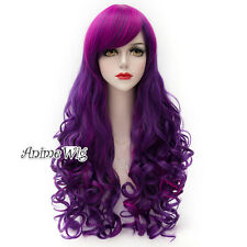 80CM Ombre Gothic Lolita Mixed Purple Long Curly Party Cosplay Wig Halloween