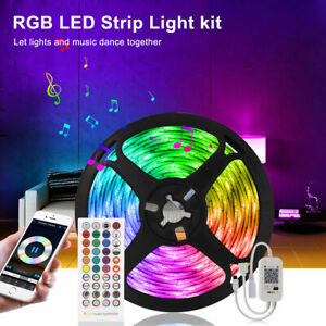 16.4FT Music Sync Bluetooth TV Rooms Bar LED Strip Lights with Remote RGB Kits