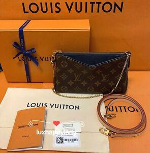 🔥LOUIS VUITTON Pallas Clutch Chain Crossbody Bag Monogram Marine Blue RARE GIFT