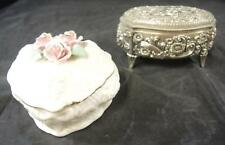 Antique Art Metal Trinket Box & Heart Shaped Trinket Box