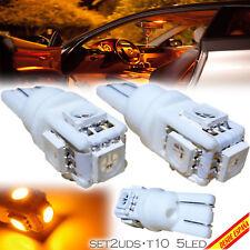 2x BOMBILLAS 5 LED AMARILLO SMD T10 W5W FESTOON MATRICULA INTERIOR GUANTERA CAR