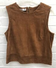New Mango Tan Brown Genuine Suede Top Cropped Small Festival Blogger Western