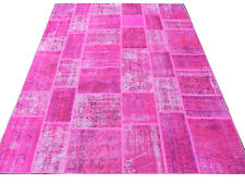 Hot Fuchsia Pink color Patchwork Rug made of Overdyed Vintage Turkish Carpets