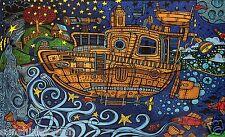 "3D Steampunk Tugboat Tapestry Beach Sheet Hanging Wall Art Corner Loops 60x90"""