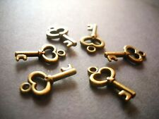 10 Key Charms Antique Bronze Tone Steampunk Pendants Miniatures 15mm