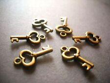 Bronze Key Charms Steampunk Charms Wholesale Lot 50pcs Bulk Skeleton Keys