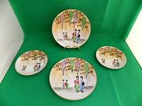 Japanese Hand Painted 2 x Plates and 2 x Saucers Signed